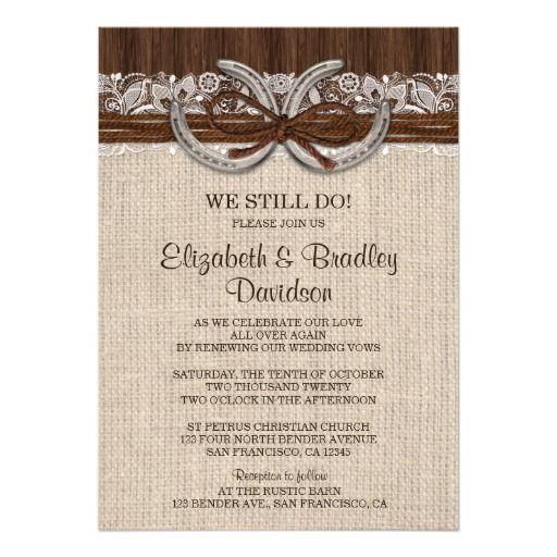 country western horseshoe wedding vow renewal invitation template - Wedding Renewal Invitations