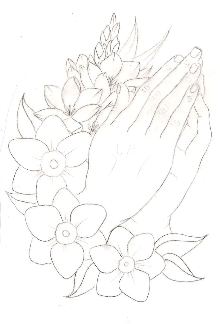 Praying Hands with Flowers Tattoo 2 by ~Metacharis on deviantART