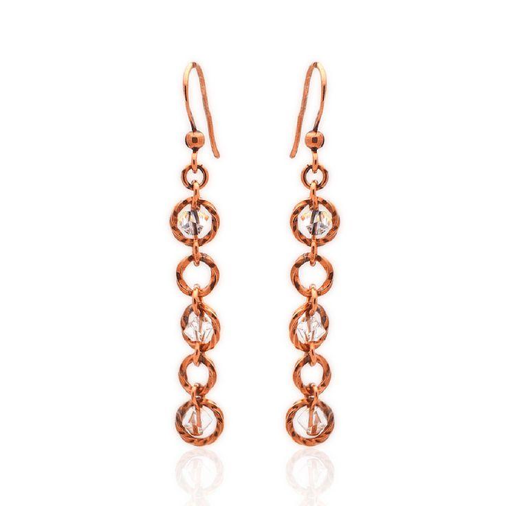 *Simply Jordan  Rose Gold/Copper and Swarovski Drop Earrings. Copper Hooks