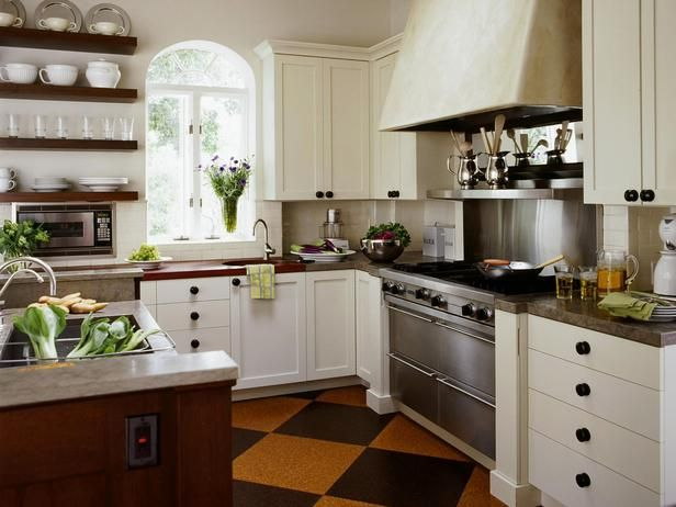 Beautifully-Organized Open Kitchen Shelving: For ease of use, stack shelves with the most-used dishes on the bottom shelf, working your way up to once-in-a-while items.  From DIYnetwork.com