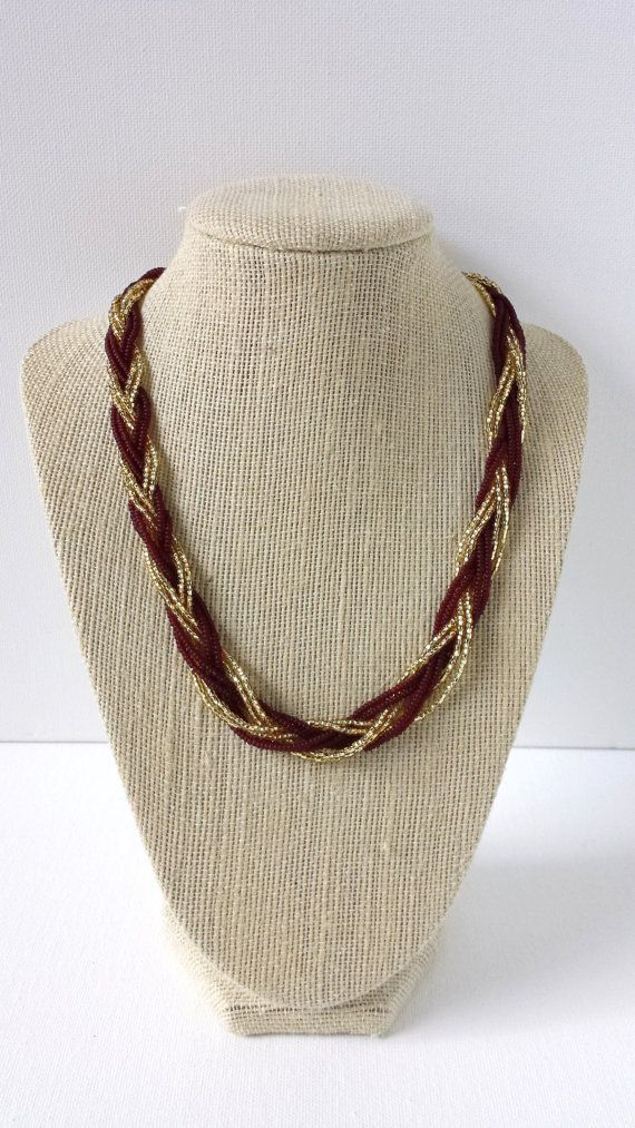 Garnet and gold necklace, maroon necklace, beaded necklace, seed bead, black bean, fsu necklace,florida state,burgundy necklace,claret,grape