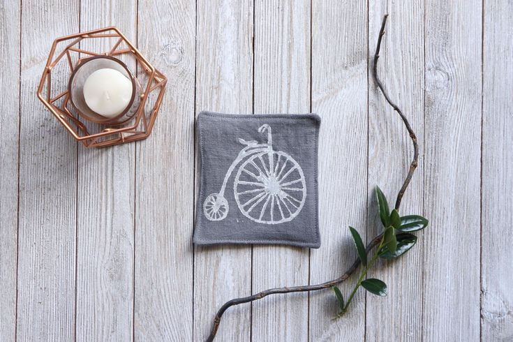 Linen Coasters Bicycle Print #vintagebicycles