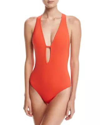 TU9NT JETS by Jessika Allen Illuminate Plunge-Neck One-Piece Swimsuit