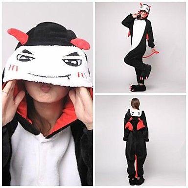 Cute Black Devil Adult Coral Fleece Kigurumi Pajamas Animal Sleepwear