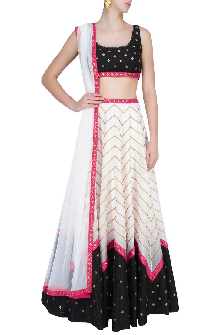 Ivory And Black Zigzag Lines And Sequins Floral Motifs Lehenga Set  #Lehenga…