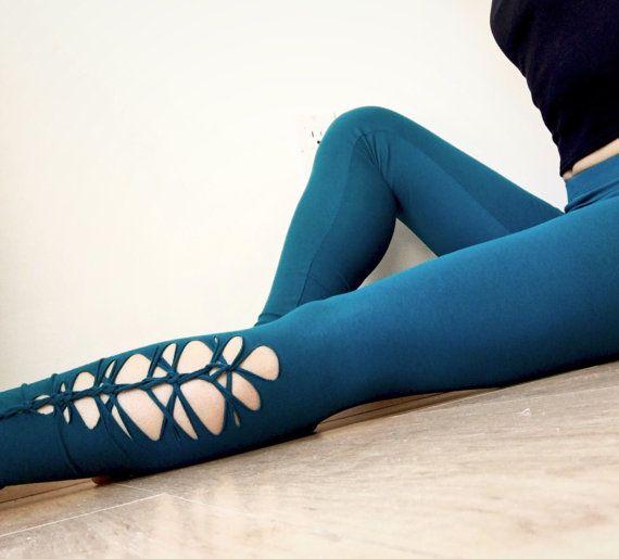 Braided Leggings in Green Blue Teal, Women's leggings, Sexy Leggings, Cut Leggings, Yoga pants, Dance pants, Tribal, Festival Pants