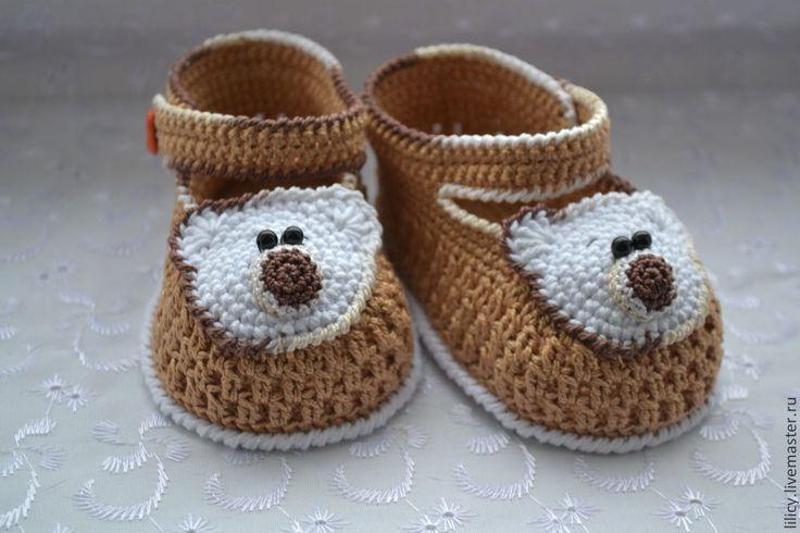 """Купить Туфельки """" Медвежата """" - бежевый, однотонный, туфельки, пинетки, пинетки для новорожденных ♥♥"""