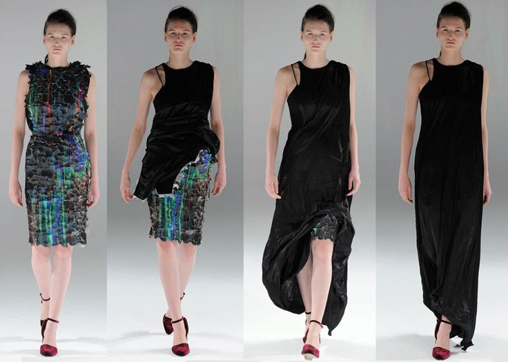Transforming dresses in the Rise Autumn Winter 2013 collection by Hussein Chalayan at Paris Fashion Week.