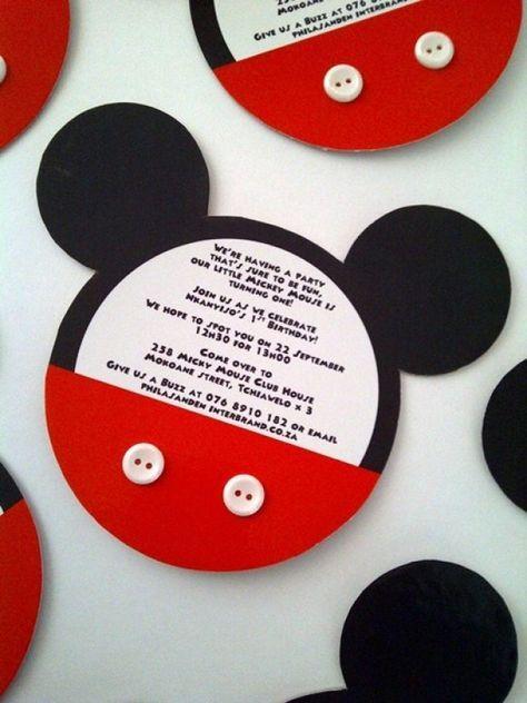 Een Mickey Mouse uitnodiging. Makkelijk om zelf te maken en ook handig voor inspiratie. Op naar Disney!