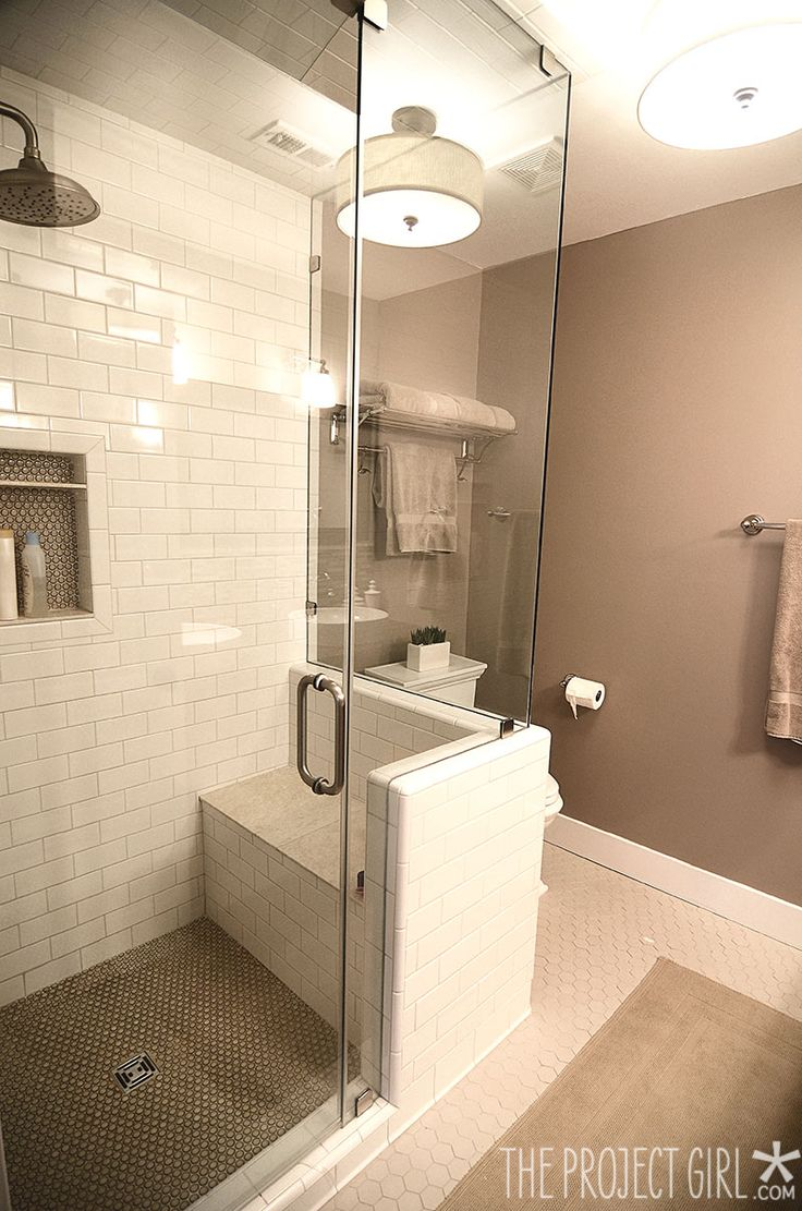 Bathroom bench ideas - Neutral Tiled Shower Stall With Bench