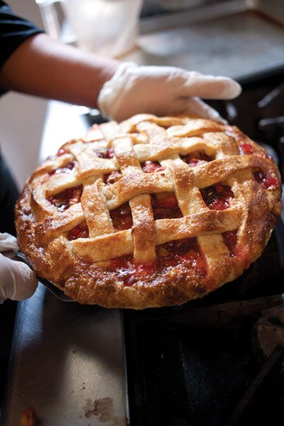 I didn't mention a baked strawberry pie in Pies & Peril, but this one looks yummy! Strawberry Pie | SAVEUR
