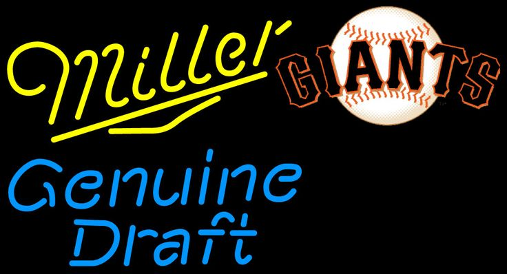 Miller Genuine Draft Giants Neon Beer Sign, Miller MGD with MLB Neon Signs | Beer with Sports Signs. Makes a great gift. High impact, eye catching, real glass tube neon sign. In stock. Ships in 5 days or less. Brand New Indoor Neon Sign. Neon Tube thickness is 9MM. All Neon Signs have 1 year warranty and 0% breakage guarantee.
