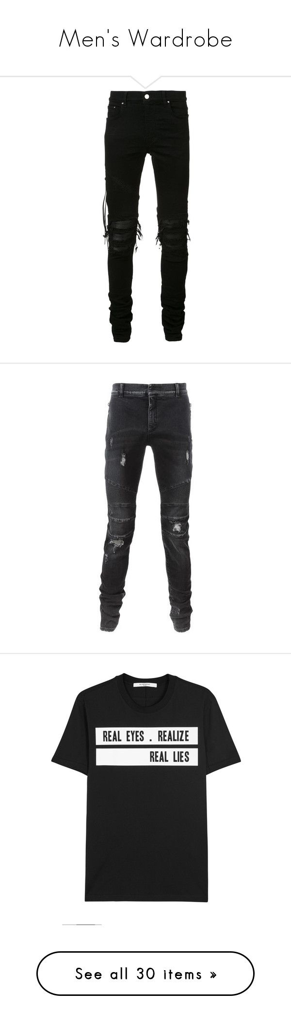 """""""Men's Wardrobe"""" by americanreject ❤ liked on Polyvore featuring men's fashion, men's clothing, men's jeans, pants, jeans, men, black, bottoms, mens slim fit ripped jeans and mens destroyed jeans"""