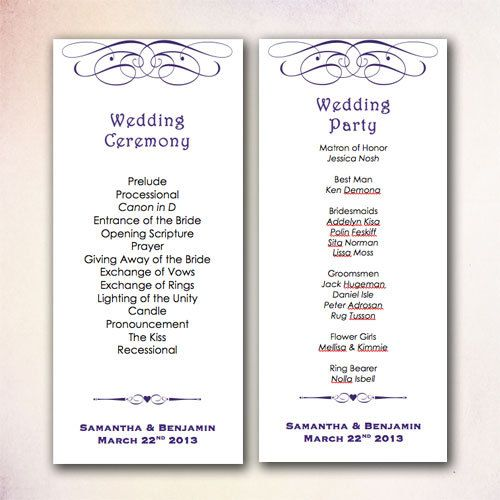20 best DIY Wedding Program Templates - Instant Download images on - program templates word