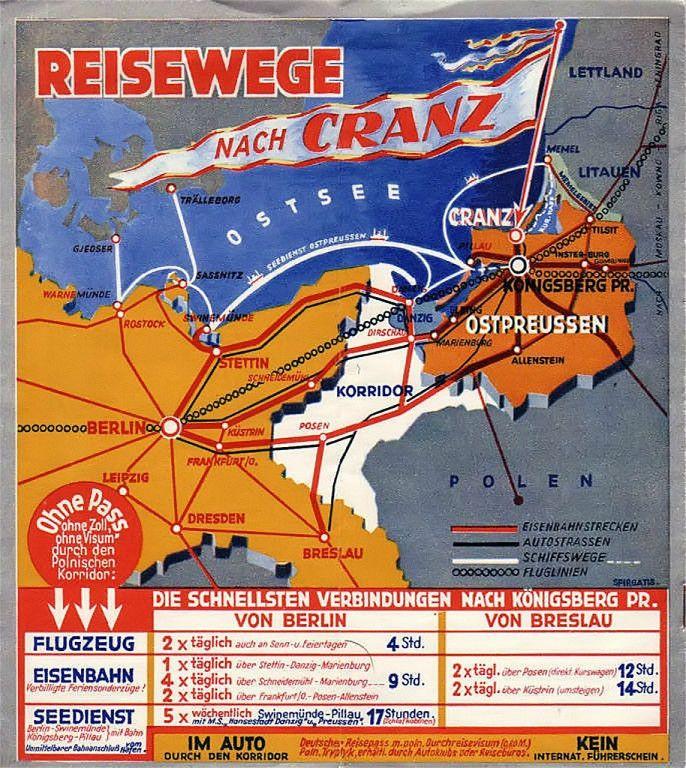 Reisewege zum Ostseebad Cranz/Ostpreußen