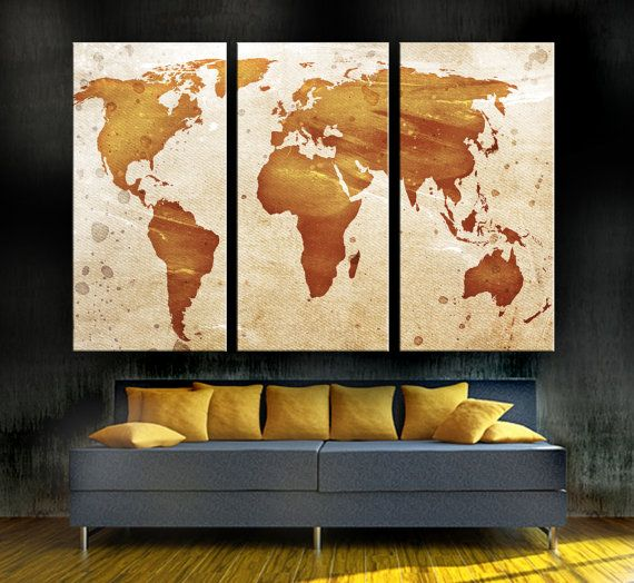 Light Orange World Map Canvas Print 3 Panel Split Triptych Wall Art For Home Office Decor Interior Design Has Red Brown Colors