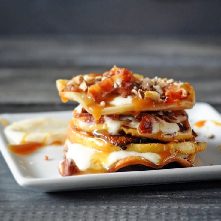 Grilled apple pie stack with bourbon creme fraiche bacon and hazelnuts ...