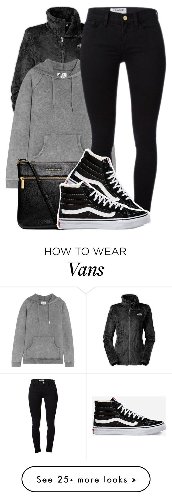 """basically what I'm wearing right now"" by society-is-ugly on Polyvore featuring The North Face, Zoe Karssen, Frame Denim, MICHAEL Michael Kors and Vans"