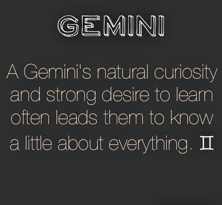Gemini (hidden meaning: and not a lot about anything because we are always pursuing new things: ADD much?)