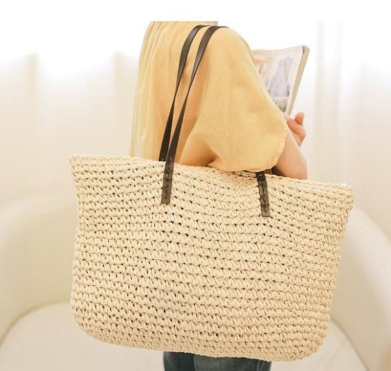 Crocheted raffia straw beach nature brown tote bag with leather ...