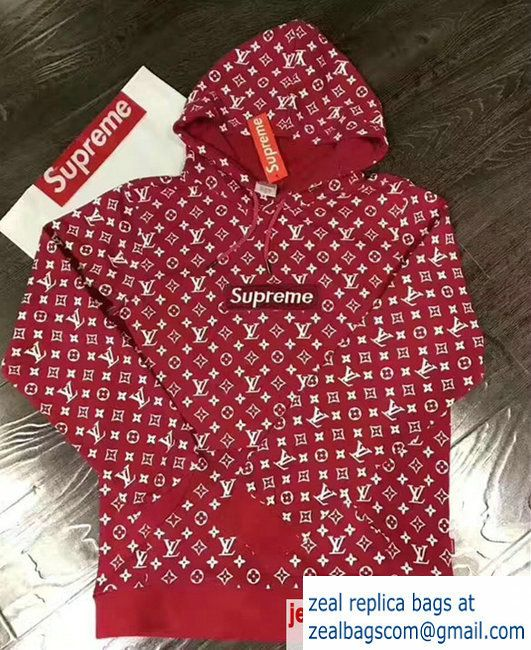Louis Vuitton Supreme Red Cotton Monogram Hoodie Sweatershirt2017
