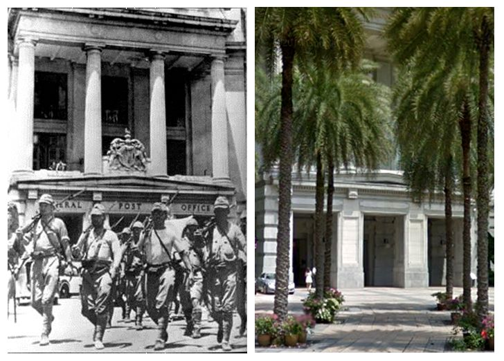 Then and Now WWII. Japanese soldiers parading through Fullerton Square, Singapore, during the occupation of 1942 to 1945. And the same spot today [with a few palm trees].