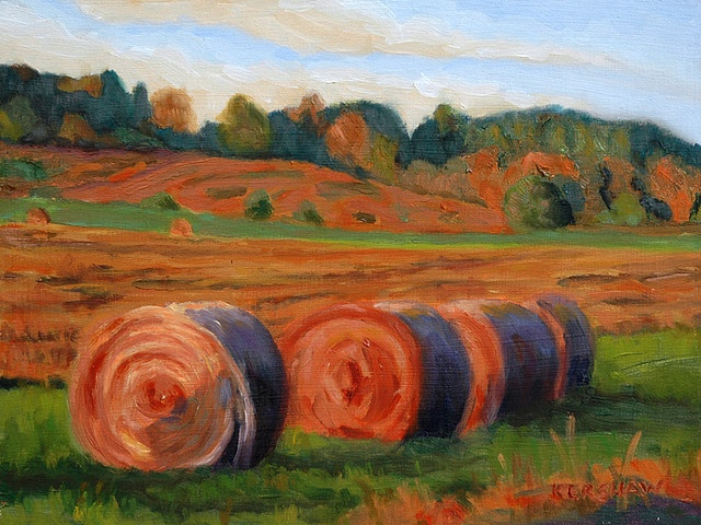 Creemore Hay Bales    Here's a scene from a farm in Creemore Ontario.  Oil, 12 x 9 in. on hardboard