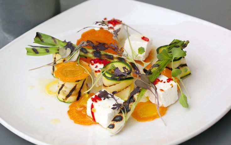 Chargrilled courgette escabeche with roast spring onions and chilli marinated feta (gluten free).  FFFx