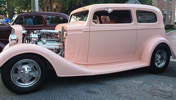 1934 Chevy Two Door Pink Lady Sedan Side View by John Telfer