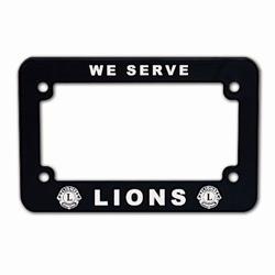 Lions logo We Serve motorcycle license plate frame, $4.95.