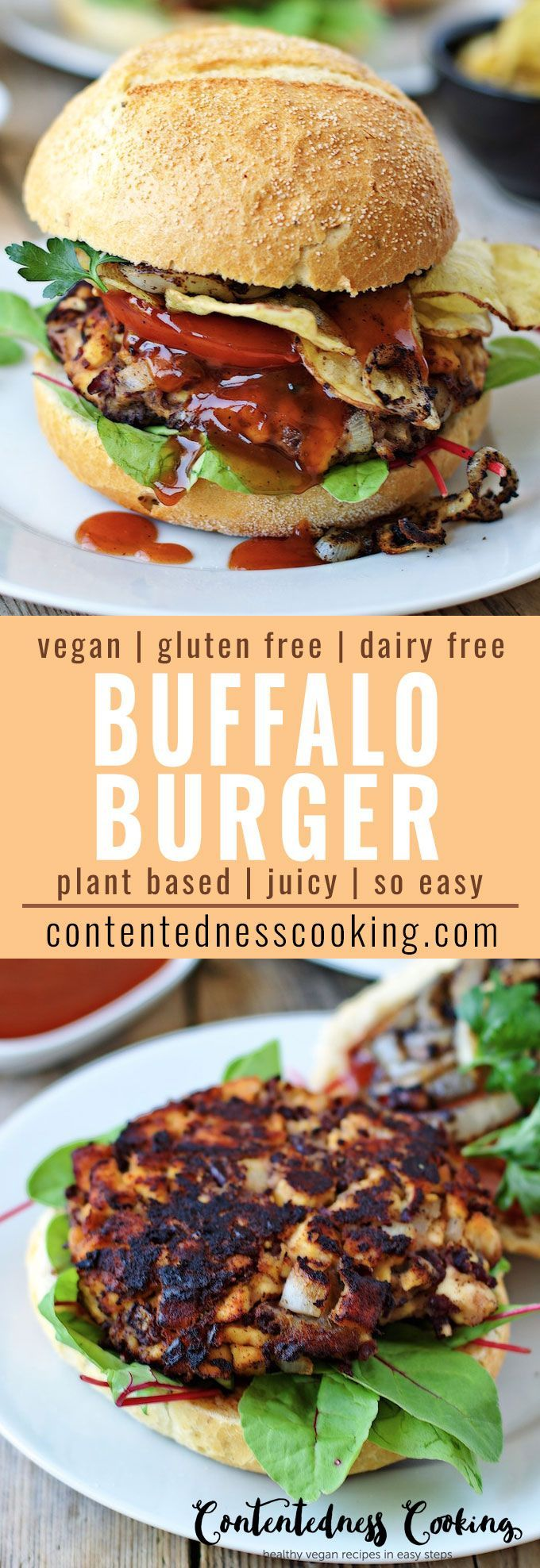 You won't  miss the meat in this juicy and hearty Vegan Buffalo Burger which is incredibly easy made with kidney beans, tempeh, BBQ Sauce and all you favorite toppings on it. Makes an amazing gluten free and dairy free dinner or lunch option.