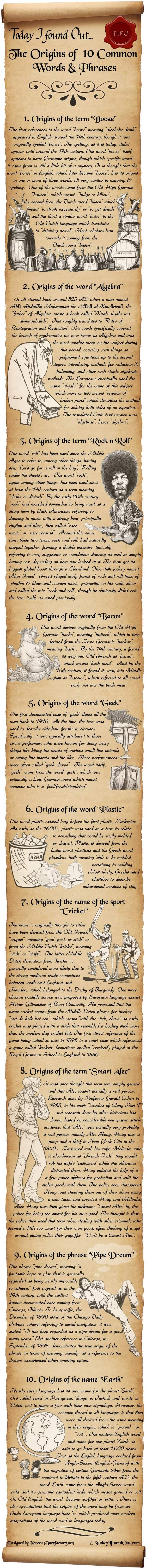 The Origins of 10 Common Words & Phrases  http://www.todayifoundout.com/index.php/2010/10/the-origins-of-10-common-words-phrases/