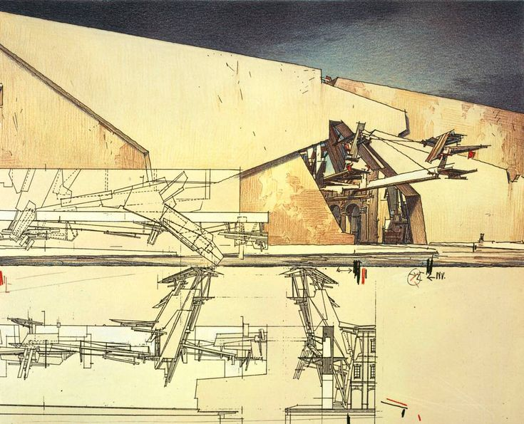 Lebbeus Woods La Habana Vieja Walls 1994 95 Coloured Pencil And WoodsTechnical DrawingsDrawing ModelsArchitecture