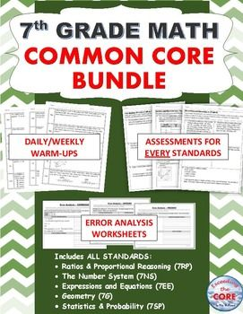 This 7th GRADE COMMON CORE MATH BUNDLE includes 8 of my top selling resources (over 90 pages of warm-ups, assessments and error analysis worksheets).As a current 7th grade math teacher, I am using the activities in this bundle for WARM UPS, HOMEWORK math CENTERS and TEST PREP .This BUNDLE RESOURCE includes: DAILY-WEEKLY REVIEWThis resource contains 20 WEEKS of review specifically written for the common core math standards for 7th grade.