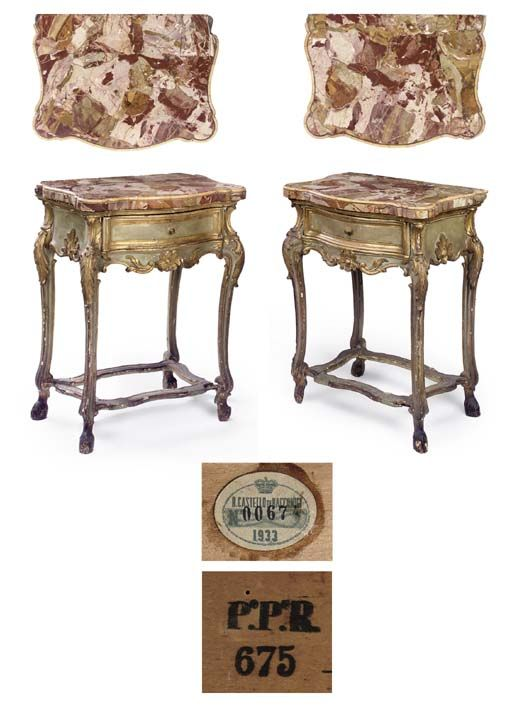 A PAIR OF ROYAL PIEDMONTESE GREEN PAINTED AND PARCEL-GILT SIDE-TABLES  CIRCA 1820-40  Each with a moulded serpentine Sicilian jasper and Siena marble top above a foliate carved frieze enclosing a drawer on leaf-capped cabriole legs with hoof feet joined by shaped stretchers, the drawers each with painted and inscribed inventory marks. FROM THE COLLECTION OF S.A.R. LA PRINCIPESSA REALE MARIA GABRIELLA DI SAVOIA.
