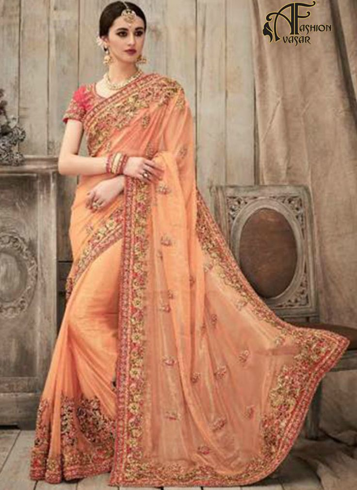 Designer Orange Georgette Saree Gold Border