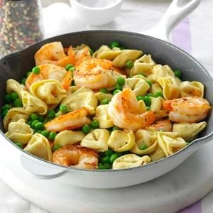 Shrimp Tortellini Pasta Toss Recipe -No matter how you toss it up, shrimp and thyme play nicely with any spring-fresh vegetable. —Taste of Home Test Kitchen