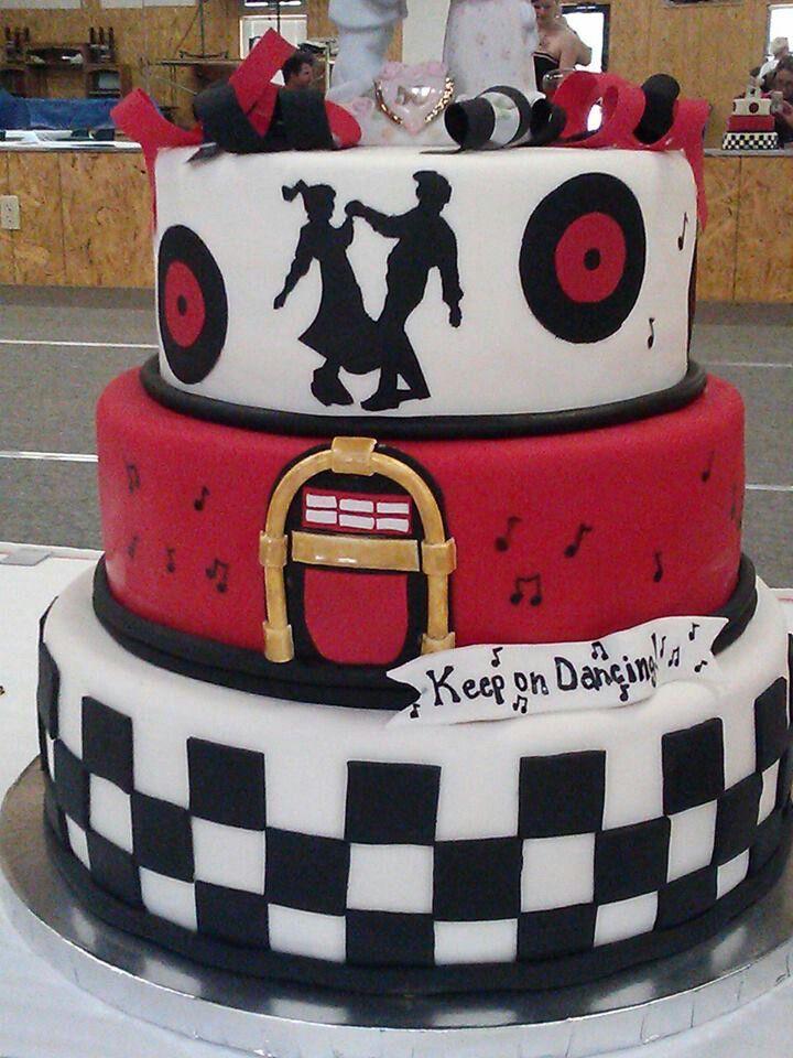 50s Style 50th Anniversary Cake