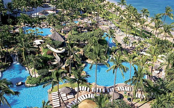 Westin Maui Resort - tropical birds live in the resort's trees, ponds, fountains, and grounds.