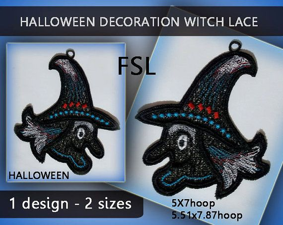 Witch decorations halloween lace window - FSL - 5x7hoop/5.51x7.87hoop - Machine…