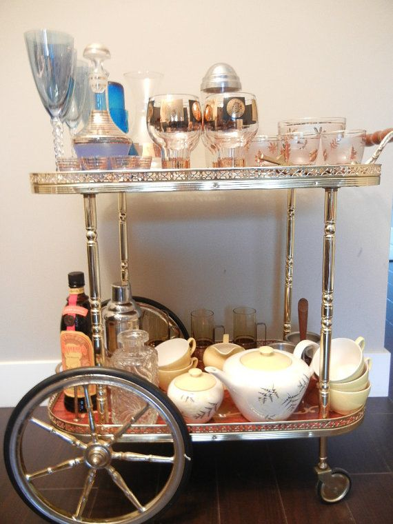 Vintage Bar Cart Soro Italy Roling Dessert Inlaid Wood Gold Chrome Handmade Italian