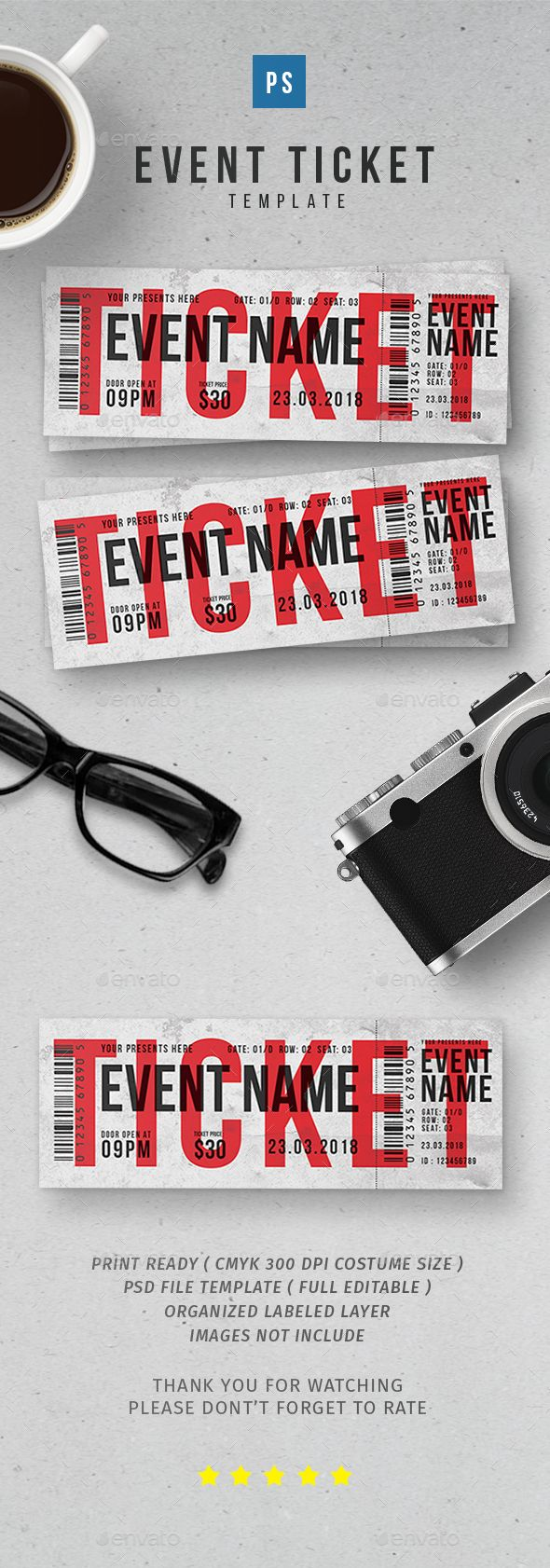 Event Ticket vol.2 — Photoshop PSD #5.5x2 #carnival • Available here ➝ https://graphicriver.net/item/event-ticket-vol2/20550983?ref=pxcr