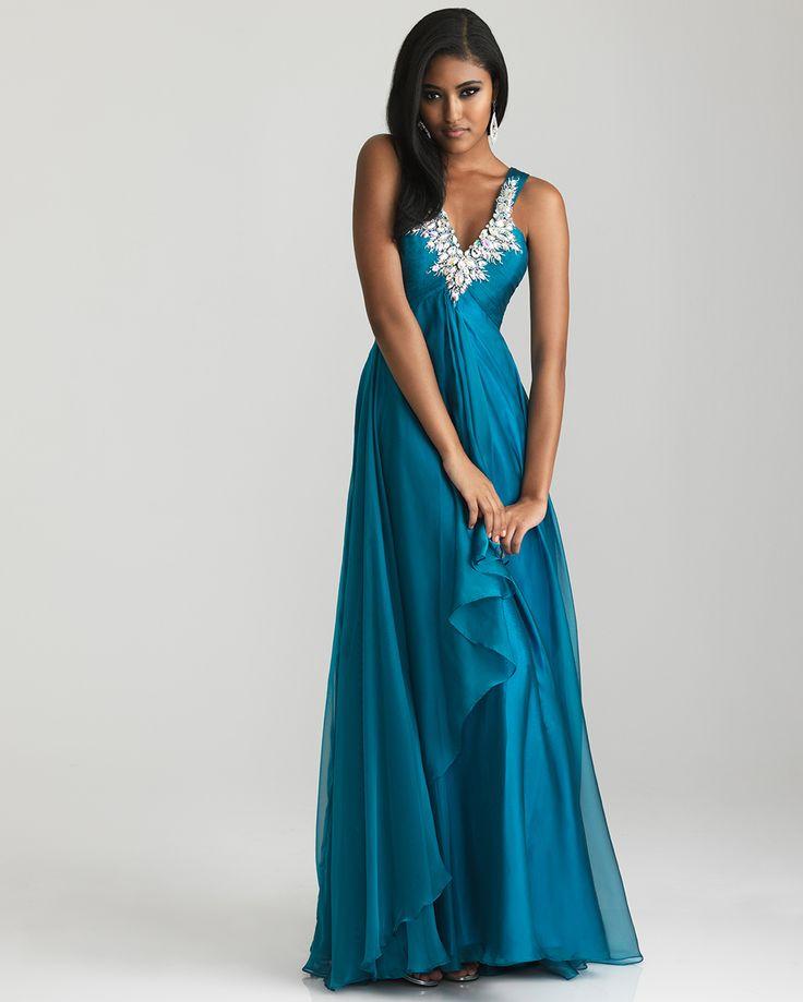 Teal Ruched Chiffon Rhinestone Empire Waist Prom Dress