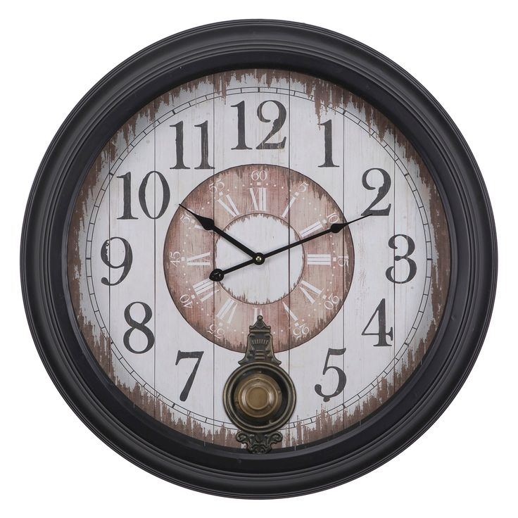 25.5 Round Traditional Wall Clock Brown - Yosemite Home Decor,