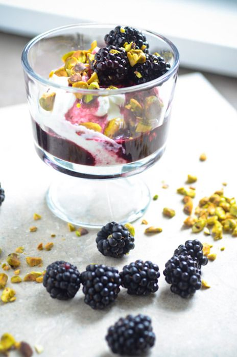 Greek Yogurt with Pistachios and Blackberry Wine Sauce | scaling back