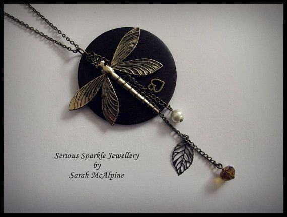 Outlander Dragonfly in Amber Inspired Necklace