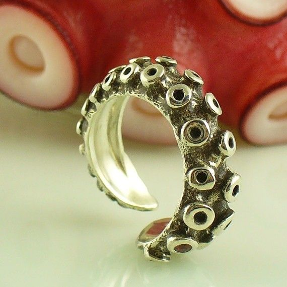 This ring is made from a real octopus tentacle which was cast in sterling silver - Cool!