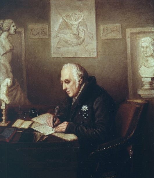 """Wilhelm von Humboldt in his study at Tegel Castle, ca.1830 