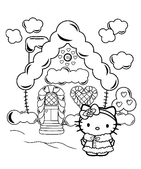 Home Of Hello Kitty Christmas Coloring Pages