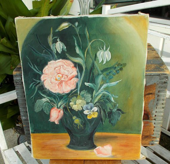 Original Oil On Canvas / Still Life Pink Roses In Vase With